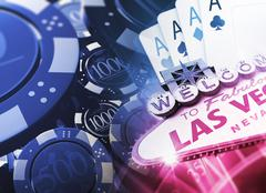 Casino Games Concept 3D Illustration with Famous Las Vegas Sign and Casino Piirros