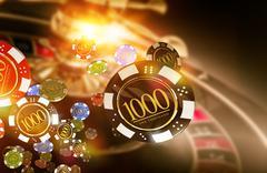 Golden Casino Roulette Chips Blow Concept 3D Render Illustration. Stock Illustration