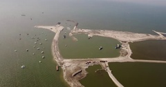 First artificial island for nature: Marker Wadden from the sky Stock Footage
