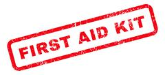 First Aid Kit Text Rubber Stamp Stock Illustration