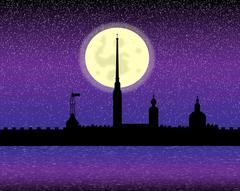 Silhouette of Peter and Paul fortress at night Stock Illustration