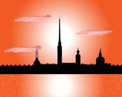 Silhouette of Peter and Paul fortress at sunset Stock Illustration