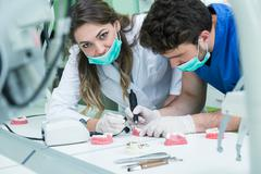 Dental prosthesis, dentures, prosthetics work. Stock Photos