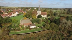 Alfriston village from the air Stock Footage