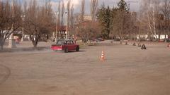 KIEV, UKRAINE - April 05, 2015: Red sport car drifting Stock Footage