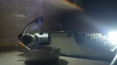 Old typewriter [Noir setting] cigar smoke Stock Footage