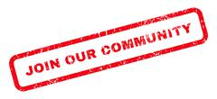 Join Our Community Text Rubber Stamp Stock Illustration