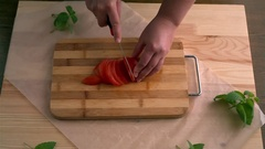 Cutting of tomato Stock Footage