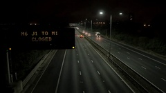 Night Time Motorway Closure Sign Stock Footage