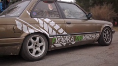 KIEV, UKRAINE - April 05, 2015: Old germany drift car get started the race Stock Footage