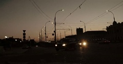 Timelapse of cars fast moving in the dark. Modern city night traffic Stock Footage