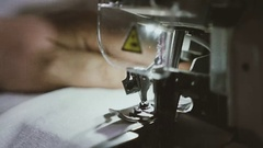 Sewing in slow motion. Close up. Stock Footage
