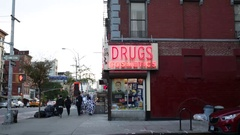 East Village New York Drug Store Neon Sign Stock Footage