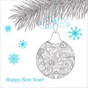 Christmas card with hand drawn decorated ball Stock Illustration