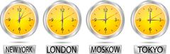 Clock showing the time in New York, Moscow, London and Tokyo Piirros