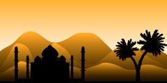 The silhouette of a mosque in the desert Stock Illustration