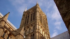 The tower of Lincoln's gothic Cathedral on a Summer's day, Lincolnshire, UK. Stock Footage