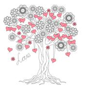 Tree of love with roots and flowers Stock Illustration