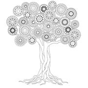 Tree with roots of mandalas Stock Illustration