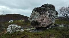 Large stones in autumn tundra. Stock Footage