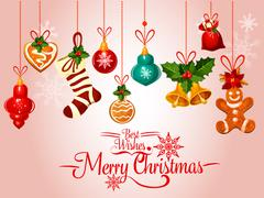 Christmas holiday greeting card with ornaments Piirros