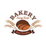 Bakery shop label emblem with rye sliced bread Piirros