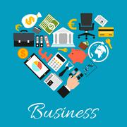 Business icons combined in heart shape Stock Illustration