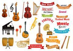 Musical instruments, music vector ribbon emblems Piirros