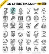Merry Christmas, xmas, celebration outline icons Stock Illustration