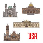 USA tourist attraction and architecture landmarks Stock Illustration