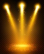 Golden spot light beams projection on floor Stock Illustration