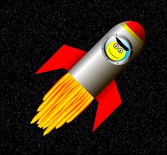 Rocket in space with happy astronaut Stock Illustration