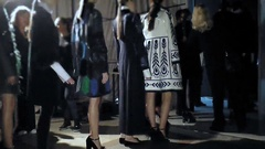 Models entering the catwalk from backstage on fashion week Stock Footage