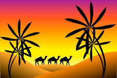Sunset in desert Stock Illustration