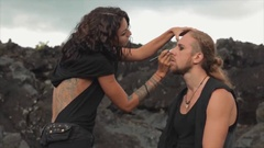 Applying makeup before shooting. Slow motion. Stock Footage