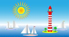 Seascape with lighthouse and sailboats Stock Illustration