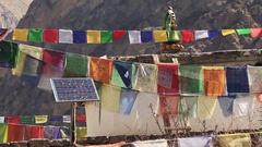 Multicolored Prayer Flags Solar Panel Stock Footage