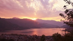 Pokhara Lake Sunset  Stock Footage