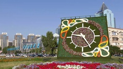 Flower Clock Flowers Almaty Kazakhstan Panorama Time Lapse 4K Stock Footage