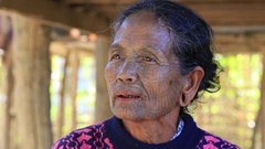 Portrait  Chin woman with spider tattoo.  Mrauk U, Myanmar. Burma Stock Footage