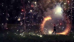 Amazing Fire Show at night on a wedding Stock Footage