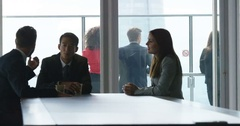 4k, Group of businesspeople in formal business suit talking in the office Stock Footage