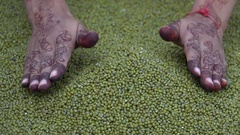 Mung Beans Falling From Hands in Slow Motion Stock Footage