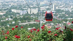 Almaty View Cable  Road 4K Stock Footage