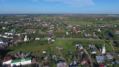 Aerial view of Suzdal, Golden ring, Russia Stock Footage