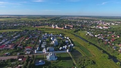 Aerial view on Monastery in Suzdal, Russia Stock Footage