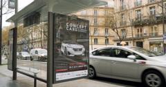 Paris advertising car logo bus station Arkistovideo