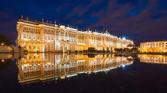 Reflection of the Hermitage museum at night in Saint Petersburg, Russia Stock Footage