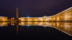 The night reflection of the Alexander Column in Saint Petersburg, Russia Stock Footage