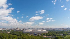 Clouds and panorama of Moscow city with the Luzhniki Stadium Stock Footage